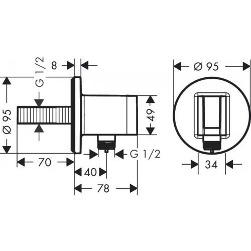фото - Шлангове з'єднання з тримачем для душа hansgrohe Fixfit Porter S 26487000