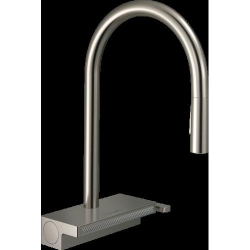 фото - Змішувач hansgrohe Aquno Select M81 для кухонної мийки з висувним душем, під сталь 73837800