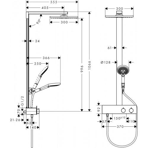фото - Душевая система hansgrohe Raindance E  Showerpipe 350 1jet с душевой штангой 27362000