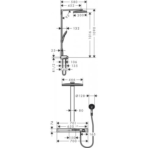 фото - Душевая система hansgrohe Rainmaker Select Showerpipe 460 2jet EcoSmart с термостатом 27029400
