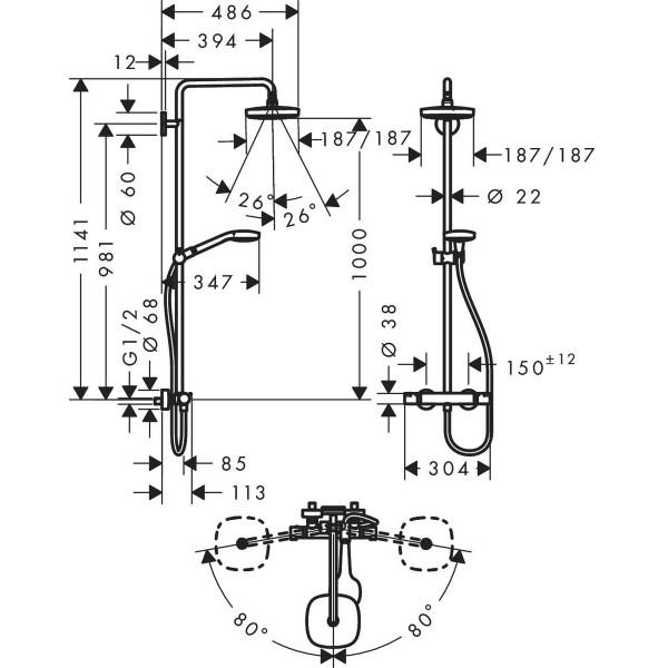 фото - Душевая система hansgrohe Croma Select E 180 2jet EcoSmart с термостатом 27257400