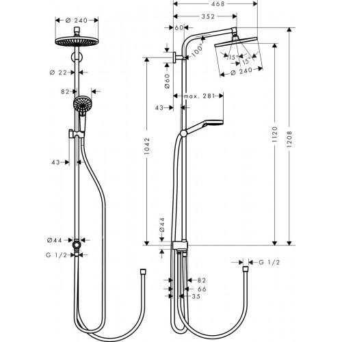 фото - Душова система hansgrohe Crometta S 240 1jet Showerpipe EcoSmart 9 l/min Rеno 27270000