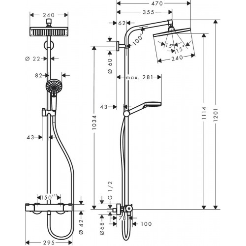 фото - Душевая система hansgrohe Crometta Е 240 1jet Showerpipe с термостатом EcoSmart 27281000