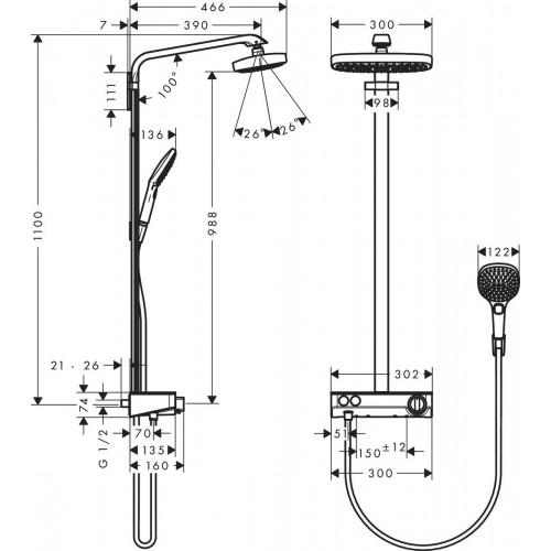 фото - Душевая система hansgrohe Raindance Select E 2jet EcoSmart 27283000