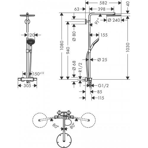 фото -  Душова система hansgrohe Raindance Select S Showerpipe 240 1jet з термостатом, бронза матовий 27633140