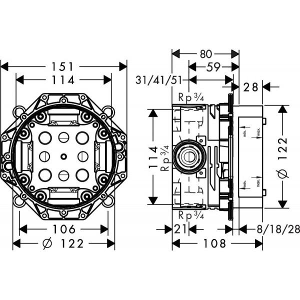 фото - Душевая система hansgrohe Ecostat Square 2B141218 (26220000, 27413000, 15758000, 01800180, 26456000, 26530000, 28168000)