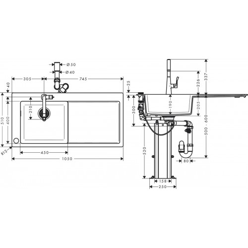 фото -  Кухонний комплект hansgrohe C51 C51-F450-11, хром 43227000
