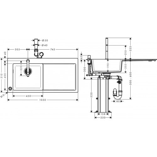 фото -  Кухонний комплект hansgrohe C51 C51-F450-12, хром 43228000