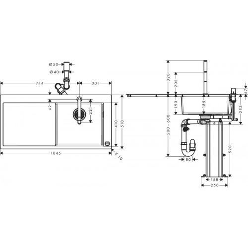 фото - Кухонный комплект hansgrohe C71 C71-F450-07 43205000 с сушилкой слева