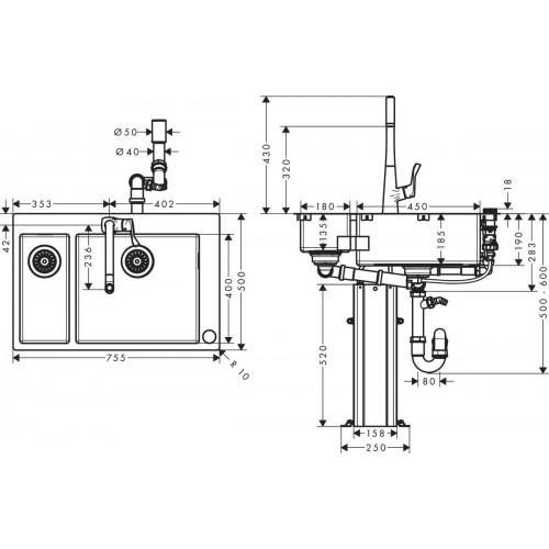 фото - Кухонный комплект hansgrohe C71 C71-F655-04 43210800
