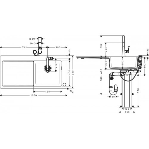 фото - Кухонный комплект hansgrohe C51 C51-F450-03 43214000 с сушилкой слева