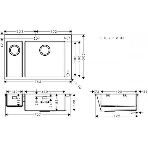 фото - Мойка для кухни hansgrohe S71 S711-F655 43309800