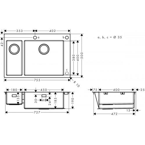 фото - Мойка для кухни hansgrohe S71 S712-F655 43310800