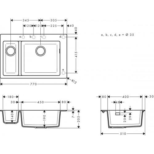 фото - Мойка для кухни hansgrohe S51 S510-F635, бетон 43315380