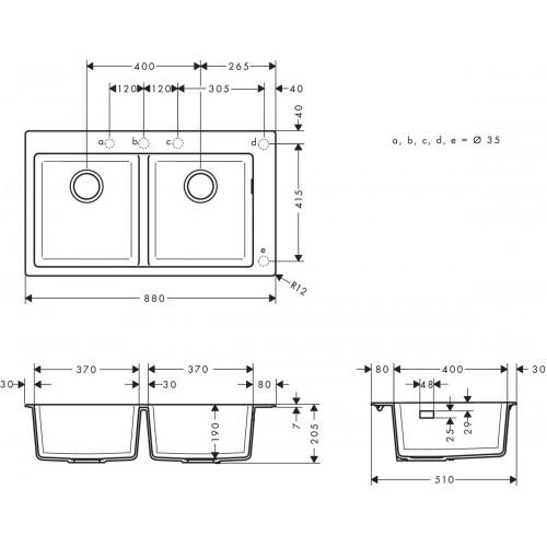 фото - Мойка для кухни hansgrohe S51 S510-F770, серый камень 43316290