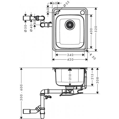 фото - Мойка для кухни hansgrohe S41 S412-F340 43334800