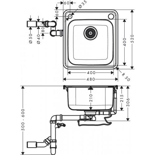 фото - Мойка для кухни hansgrohe S41 S412-F400 43335800