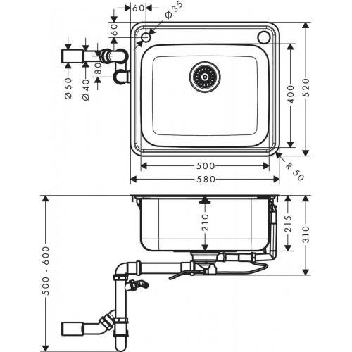 фото - Мойка для кухни hansgrohe S41 S412-F500 43336800