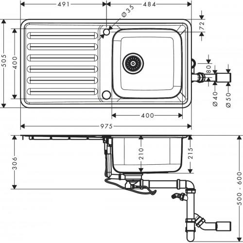 фото - Мойка для кухни hansgrohe S41 S4113-F400 43338800