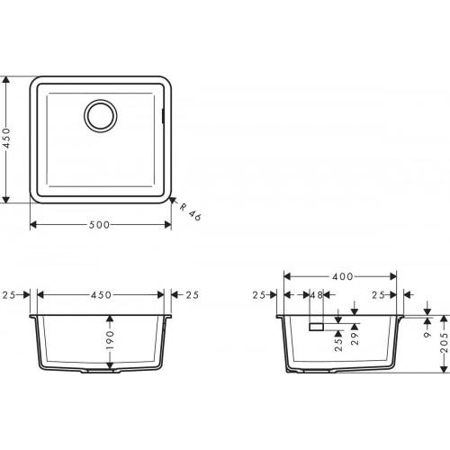 фото - Мойка для кухни hansgrohe S51 S510-U450, черный графит 43431170