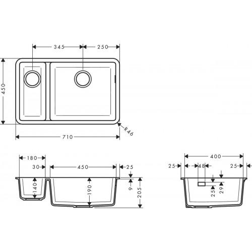 фото - Мойка для кухни hansgrohe S51 S510-U635, серый камень 43433290