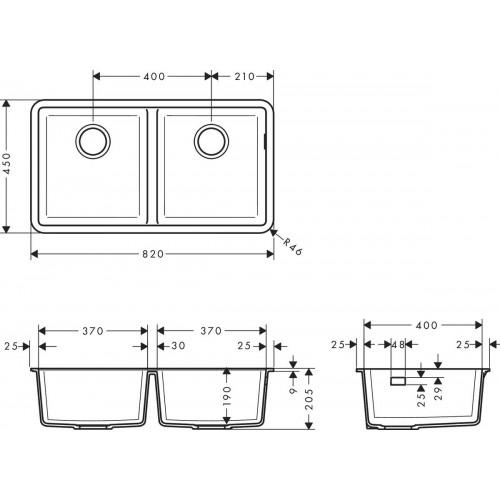 фото - Мойка для кухни hansgrohe S51 S510-U770 43434170 чёрный графит