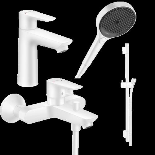 фото - Набор смесителей для ванны 4 в 1 hansgrohe Talis E 1102020 (71740700, 71710700, 28632700, 26864700)
