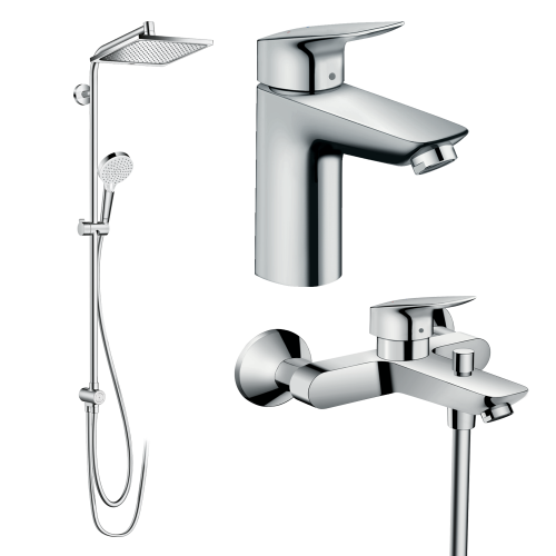 фото - Набор смесителей для ванны 3 в 1 hansgrohe 20200002 (27289000, 71104000, 71400000)