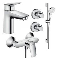 Набор смесителей для ванны 4 в 1 hansgrohe Logis 71600116 (71100000, 27772000, 71600000, 13901000-2шт.)
