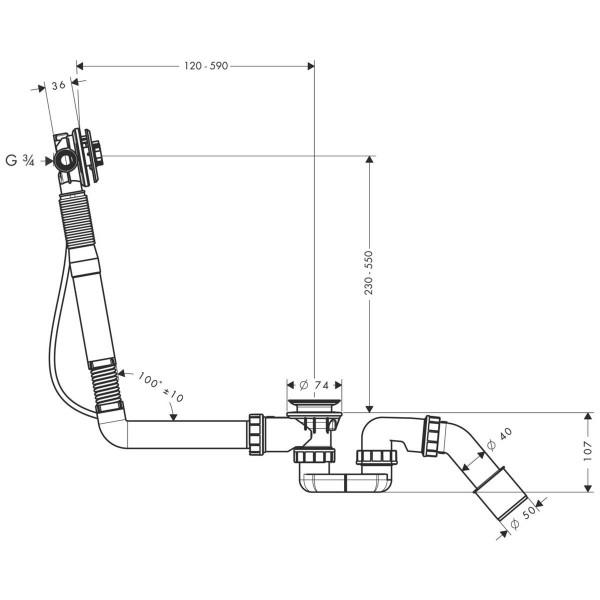 фото - Скрытая часть излива hansgrohe Exafill S для ванны, с набором для слива и перелива 58116180