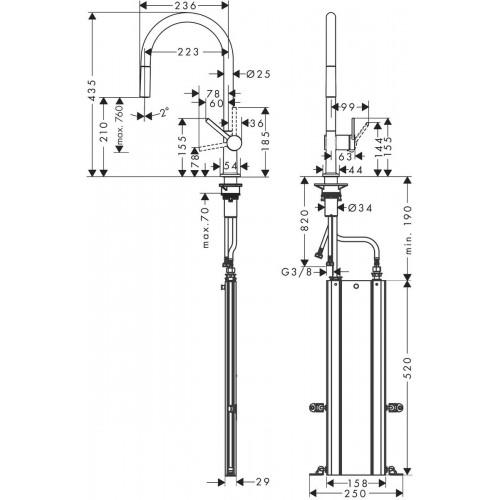фото -  Змішувач hansgrohe Talis M54 для кухонної мийки з висувним душем, чорний матовий 72803670