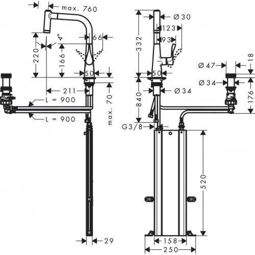 фото - Смеситель hansgrohe Metris Select M71 для кухонной мойки, под сталь 73805800