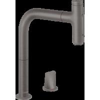 Смеситель hansgrohe Metris Select M71 для кухонной мойки с выдвижным душем, матовый черный/хром 73818340