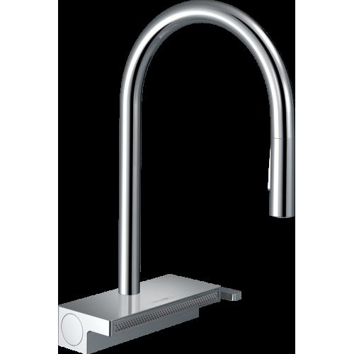 фото -  Змішувач hansgrohe Aquno Select M81 для кухонної мийки з висувним душем, хром 73831000