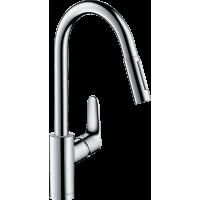Смеситель hansgrohe Focus M41 для кухонной мойки с выдвижным душем, хром 73880000