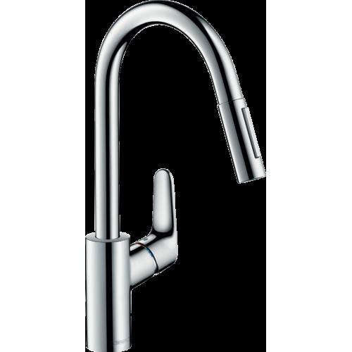 фото - Смеситель hansgrohe Focus M41 2Jet для кухонной мойки с выдвижным душем sBox, хром 73880000