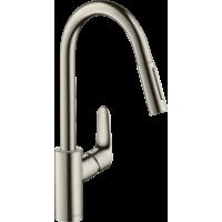 Смеситель hansgrohe Focus M41 для кухонной мойки с выдвижным душем, под сталь 73880800