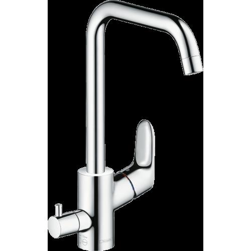 фото - Смеситель hansgrohe Focus M41 для кухонной мойки с запорным вентилем, хром 73884000
