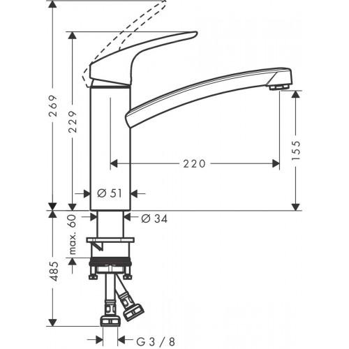 фото - Смеситель hansgrohe Focus M41 для кухонной мойки с поворотным изливом, под сталь 73885800