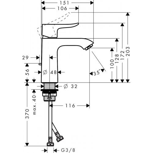 фото -  Змішувач hansgrohe Metris для раковини із середнім виливом і зливним гарнітуром, хром 31080000