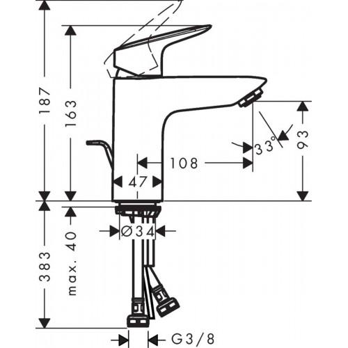 фото -  Змішувач hansgrohe Logis для раковини із середнім виливом і зливним гарнітуром, хром 71100000