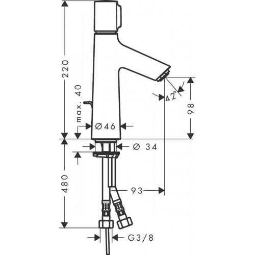 фото -  Змішувач hansgrohe Talis Select S для раковини із середнім виливом і зливним гарнітуром, хром 72042000