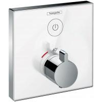 Термостат hansgrohe ShowerSelect Glass для двух потребителей стеклянный, белый/хром 15737400