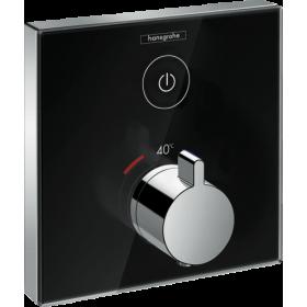 Термостат hansgrohe ShowerSelect Glass для двох споживачів скляний, чорний / хром 15737600