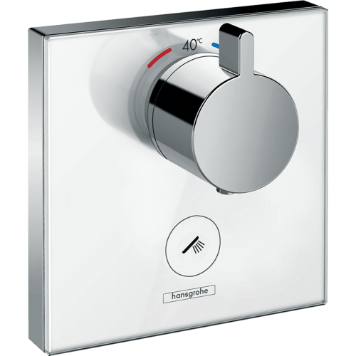 фото - Термостат hansgrohe ShowerSelect Highfow для душа с отдельным выводом для ручного душа, стеклянный 15735400
