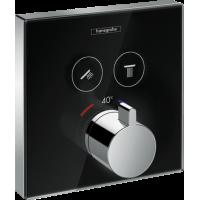Термостат hansgrohe ShowerSelect Glass для двух потребителей стеклянный, черный/хром 15738600