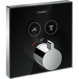 Термостат hansgrohe ShowerSelect Glass для двох споживачів скляний, чорний / хром 15738600