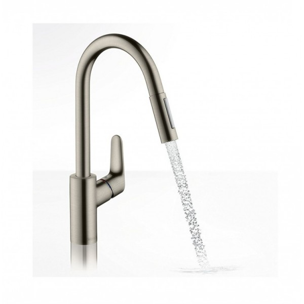 фото - Смеситель hansgrohe Focus для кухонной мойки с выдвижным душем, сталь 31815800