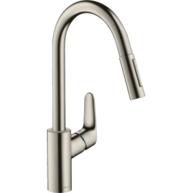 Змішувач hansgrohe Focus для кухонної мийки з висувним душем, сталь 31815800