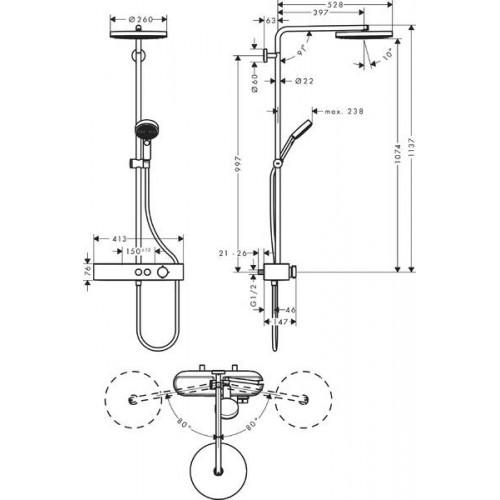 фото - Душевая система hansgrohe Pulsify Showerpipe 260 1jet EcoSmart с термостатом 24221000 хром